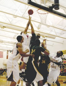 Leaps and Bounds: The men's basketball team climbed to the top on Saturday, triumphing over the Tiffin Dragons with a score of 82-61. That victory brought the Bulldogs to a record of 3-0, the best start they have had in 12 years. Photo By: Kate Dupon | Photographer