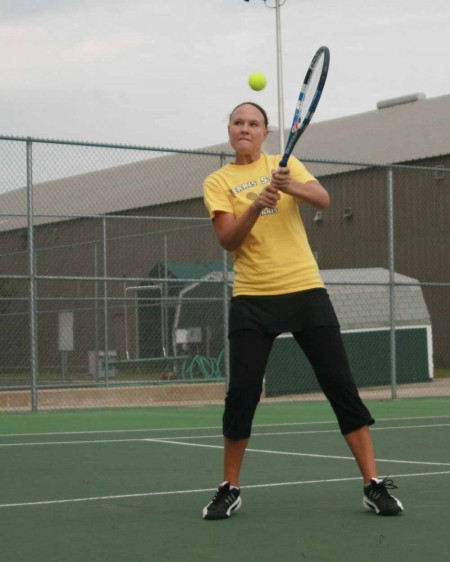 Beating the Lakers: FSU senior Melissa Flowers lines up to return a ball during the Michigan Tech contest. Flowers played an important role in helping the Bulldogs defeat Lake Superior 5-4 on Sept. 22. Photo By: Kate Dupon   Photo Editor