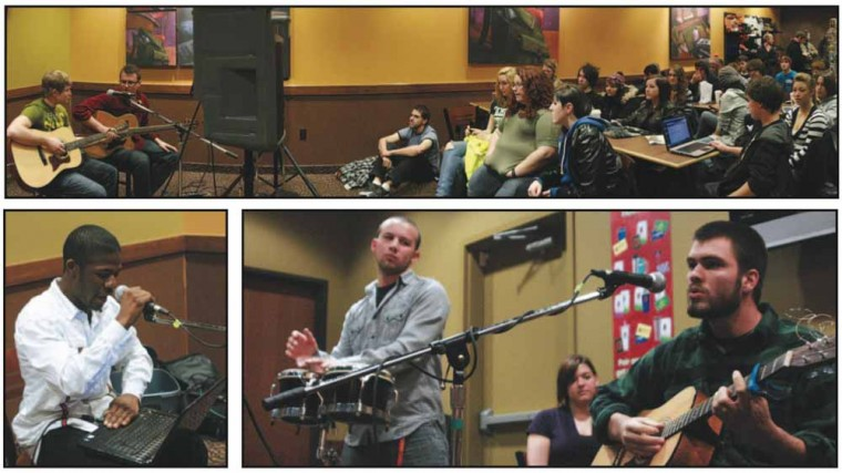 Ferris Unplugged: Evan Pazkowski, top, performs with fellow Ferris students during Entertainment Unlimited's Unplugged on Nov. 17 at Biggby Coffee. Students came to listen to their peers sing, rap, read poetry and play instruments. Photos By: Kate Dupon | Photo Editor