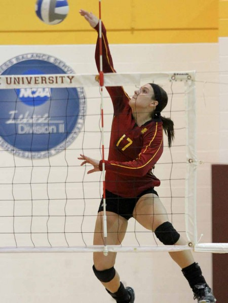 Season Over: FSU junior outside hitter Aly Brecht, above, and the Bulldogs ended their 2011 season with a loss to Indianapolis in the regional semifinals. Brecht had a team-high nine kills during the semifinal match. Torch File Photo