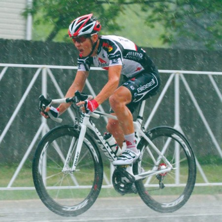 Driving Rain: Senior Alex Vanias continues to pedal through the rain. Vanias competed with the Bissell Vacuum's under-25 professional team for a season. Photo Courtesy of Elizabeth Rangel