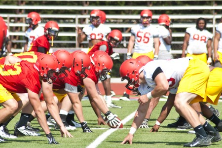 Offense vs. Defense: Members of the offensive and defensive line practice different plays weeks before the start of the season. The Ferris State Bulldogs went 7-4 in last year's football season. Photo By: Tori Thomas | Photographer