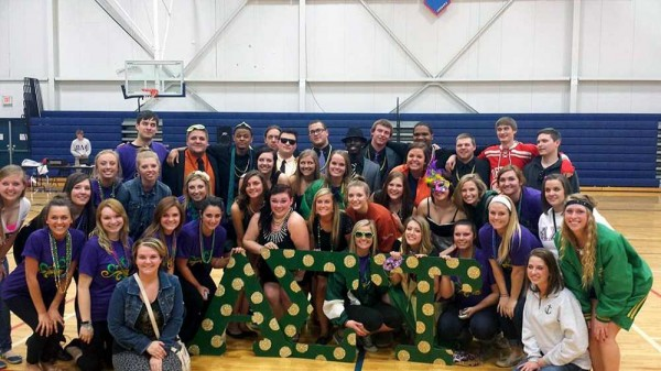 Alpha Sigma Tau and Phi Sigma Kappa celebrate being lip sync champs during Spring Greek week. Being part of the Greek community gives you the opportunity to participate in events such as these on campus.
