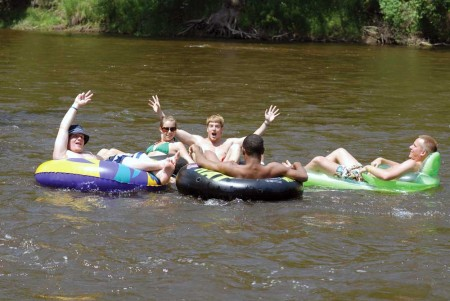 Ferris students tube down the Muskegon River that runs along the East side of campus; a Ferris Tradition.