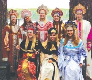 Ferris students wear traditional Russian princess dresses.