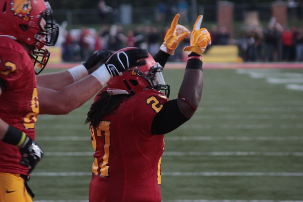 Junior running back Jamaal Jackson celebrates following a rushing touchdown en route to a 42-17 victory for Ferris football over the Grand Valley State Lakers.