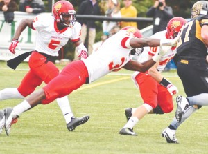 James Wimberly stretches for a tackle against Ohio Dominican.