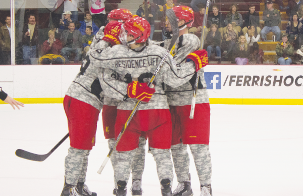 This past week, the Hockey Team paid tribute to our Nations Veterans and current soldiers by wearing camoflauge jerseys, and paid tribute in style, winning 10-2 in Thursday night's contest over Alaska-Anchorage