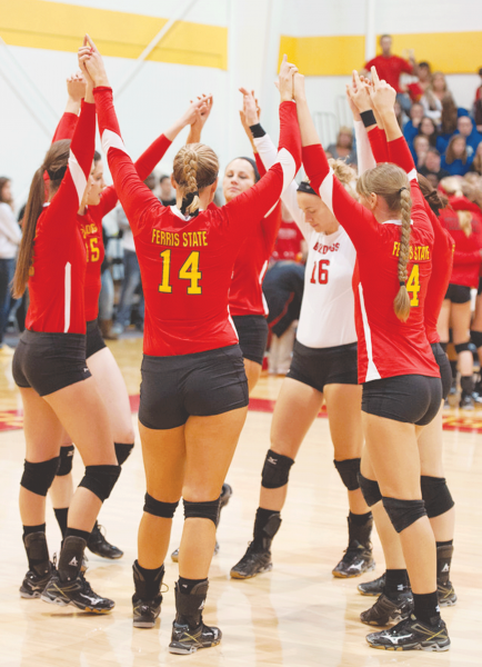 Ferris after a 3-2 victory over Grand Valley State at home. The Bulldogs are now 2-1 against Grand Valley State this season.