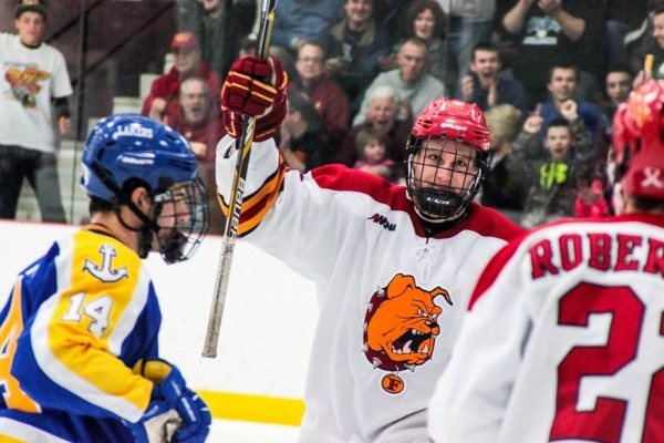 Troy, Michigan native Drew Mayer celebrates a Ferris goal against Lake Superior State. Mayer scored a goal in each game against the Lakers, and will be playing just down the road from where he grew up on December 28-29.