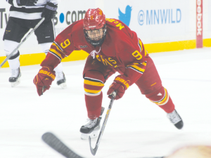 Sophomore Chad McDonald and the rest of the Bulldogs battle the No. 1 Minnesota State Mavericks at the Xcel Energy Center in St. Paul, Minnesota during the WCHA Final Five.