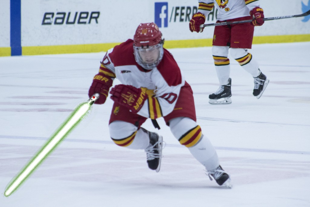"""Fans of the Bulldogs and of Star Wars flocked to Ewigleben Arena to celebrate Ferris hockey's second annual """"Star Wars Night."""""""